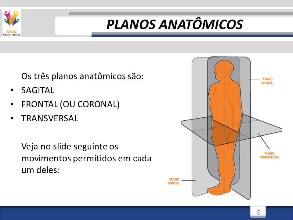 2/3/20146 6 Os três planos anatômicos são: SAGITAL FRONTAL (OU CORONAL) TRANSVERSAL Veja no slide seguinte os movimentos permitidos em cada um deles: PLANOS ANATÔMICOS