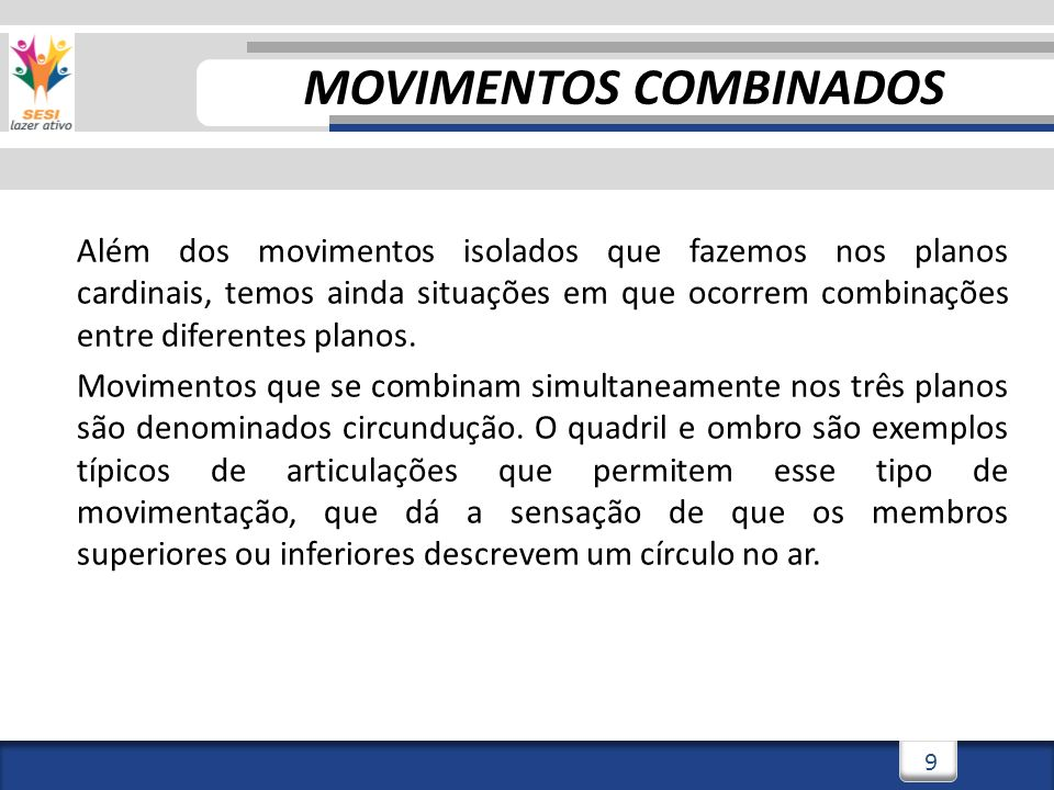 2/3/20149 9 MOVIMENTOS COMBINADOS Além dos movimentos isolados que fazemos nos planos cardinais, temos ainda situações em que ocorrem combinações entre diferentes planos.