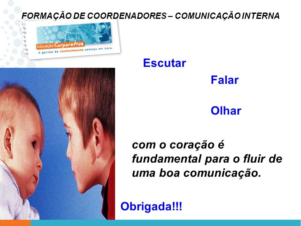 FORMAÇÃO DE COORDENADORES – COMUNICAÇÃO INTERNA Escutar Falar Olhar com o coração é fundamental para o fluir de uma boa comunicação. Obrigada!!!