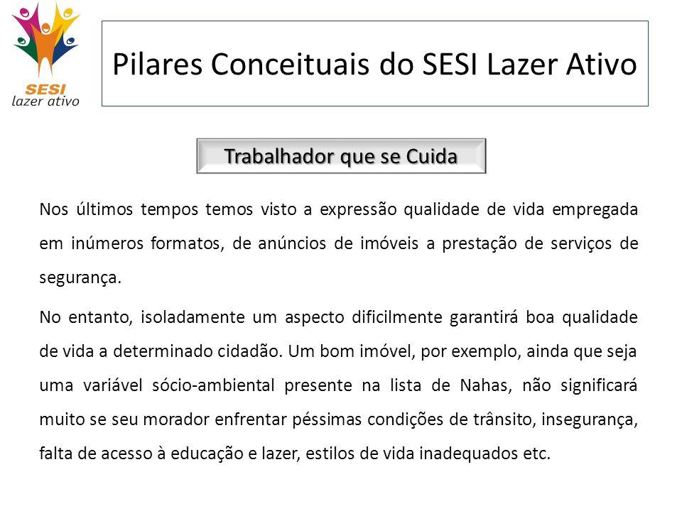 Pilares Conceituais do SESI Lazer Ativo Trabalhador que se Cuida Nos últimos tempos temos visto a expressão qualidade de vida empregada em inúmeros fo