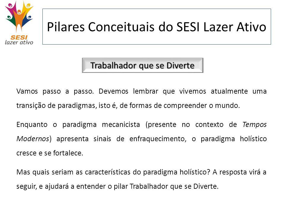Pilares Conceituais do SESI Lazer Ativo Trabalhador que se Diverte Vamos passo a passo. Devemos lembrar que vivemos atualmente uma transição de paradi
