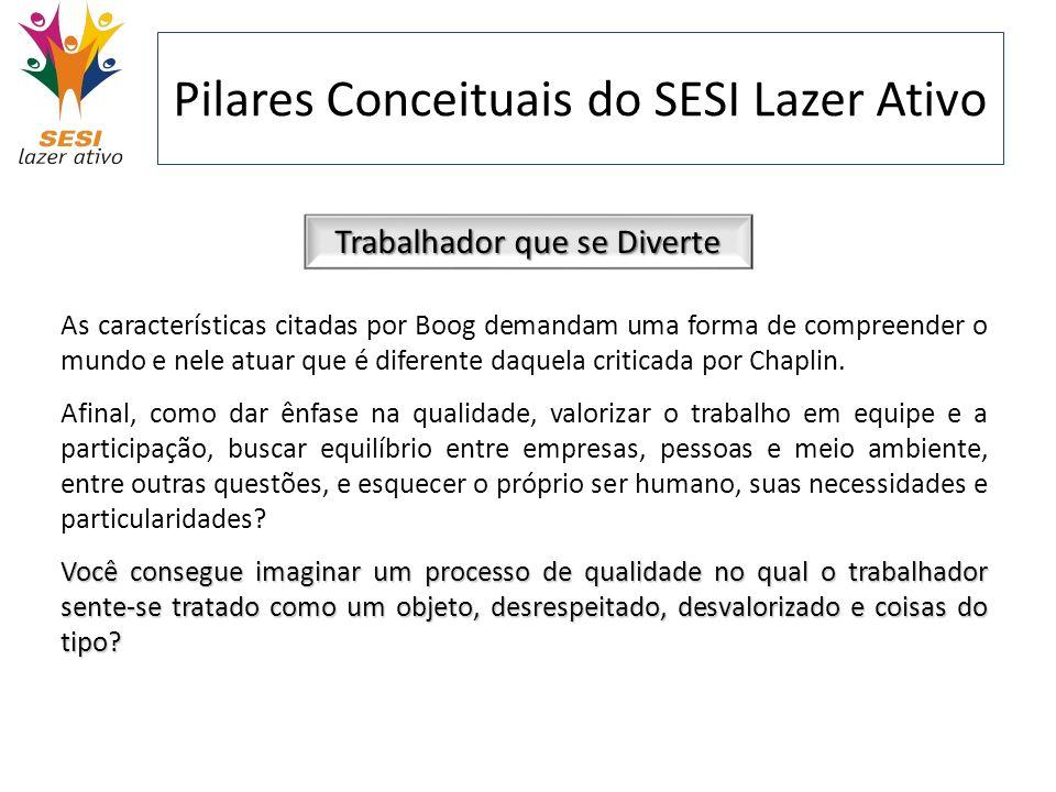 Pilares Conceituais do SESI Lazer Ativo Trabalhador que se Diverte As características citadas por Boog demandam uma forma de compreender o mundo e nel
