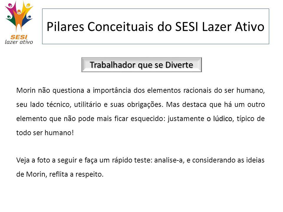 Pilares Conceituais do SESI Lazer Ativo Trabalhador que se Diverte o lúdico Morin não questiona a importância dos elementos racionais do ser humano, s