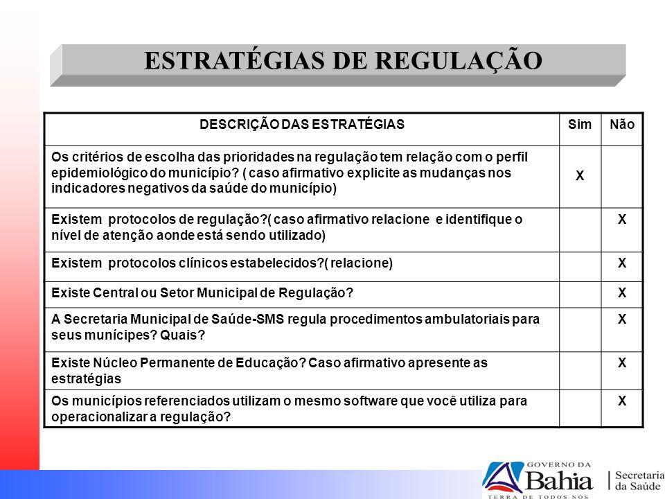 DESCRIÇÃO DAS ESTRATÉGIASSimNão Os critérios de escolha das prioridades na regulação tem relação com o perfil epidemiológico do município? ( caso afir