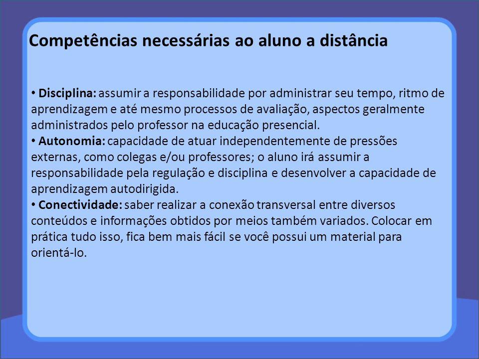 Competências necessárias ao aluno a distância Disciplina: assumir a responsabilidade por administrar seu tempo, ritmo de aprendizagem e até mesmo proc