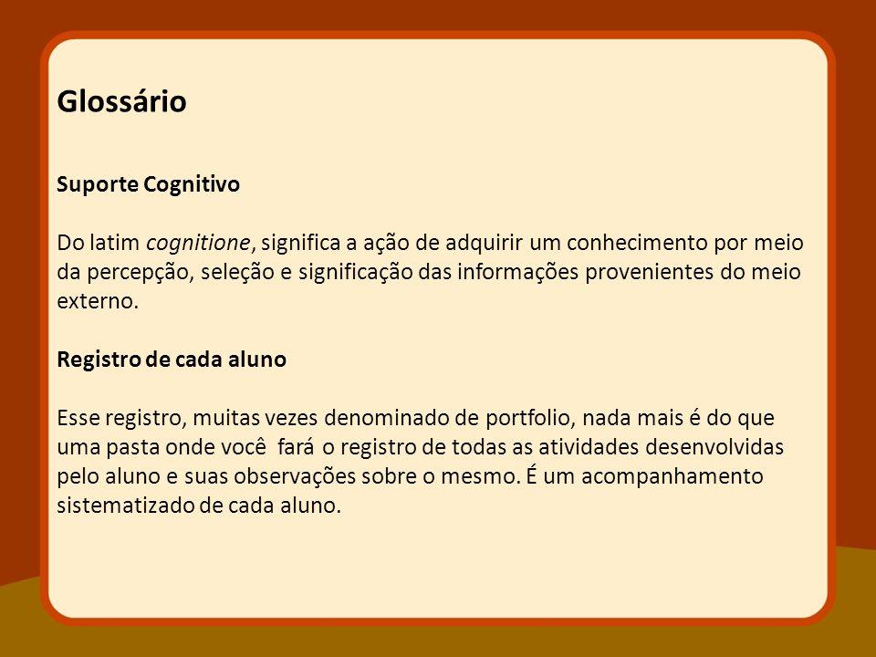 Glossário Suporte Cognitivo Do latim cognitione, significa a ação de adquirir um conhecimento por meio da percepção, seleção e significação das inform