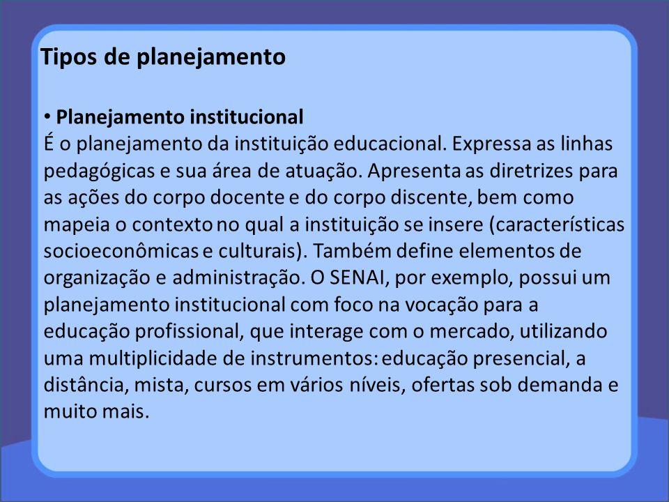 Tipos de planejamento Planejamento institucional É o planejamento da instituição educacional. Expressa as linhas pedagógicas e sua área de atuação. Ap