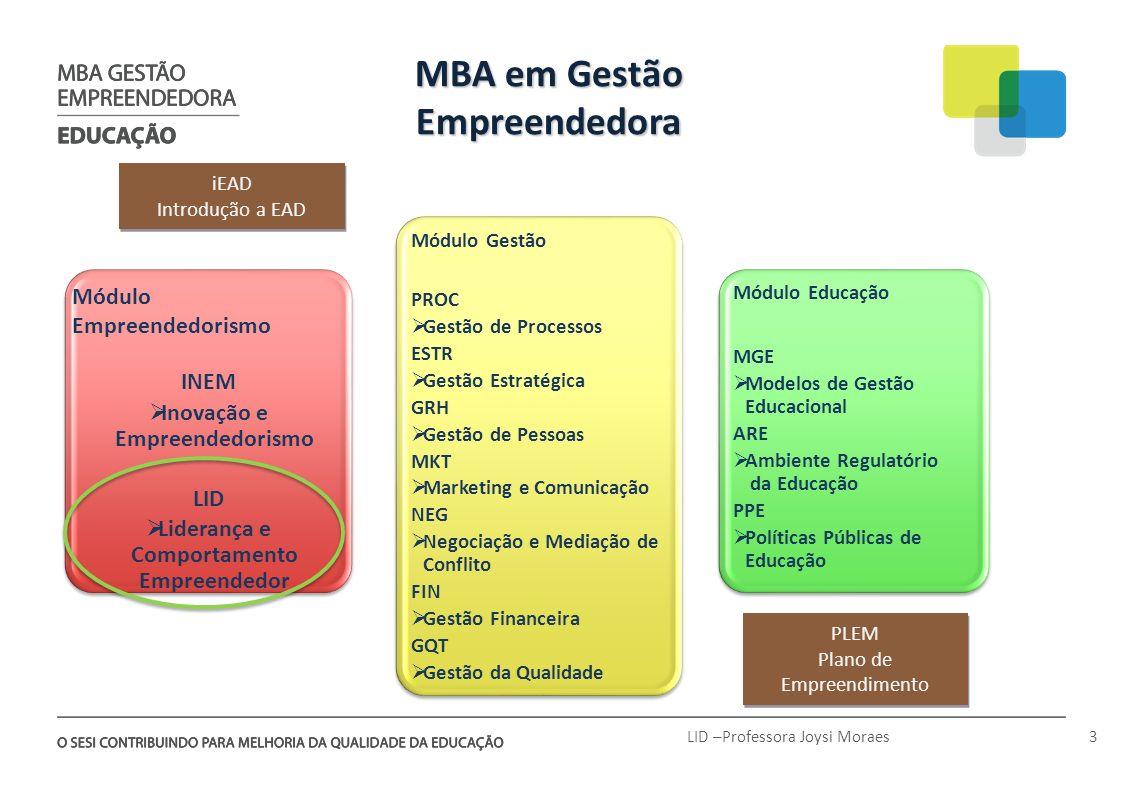 MBA em Gestão Empreendedora iEAD Introdução a EAD iEAD Introdução a EAD Módulo Gestão PROC Gestão de Processos ESTR Gestão Estratégica GRH Gestão de P