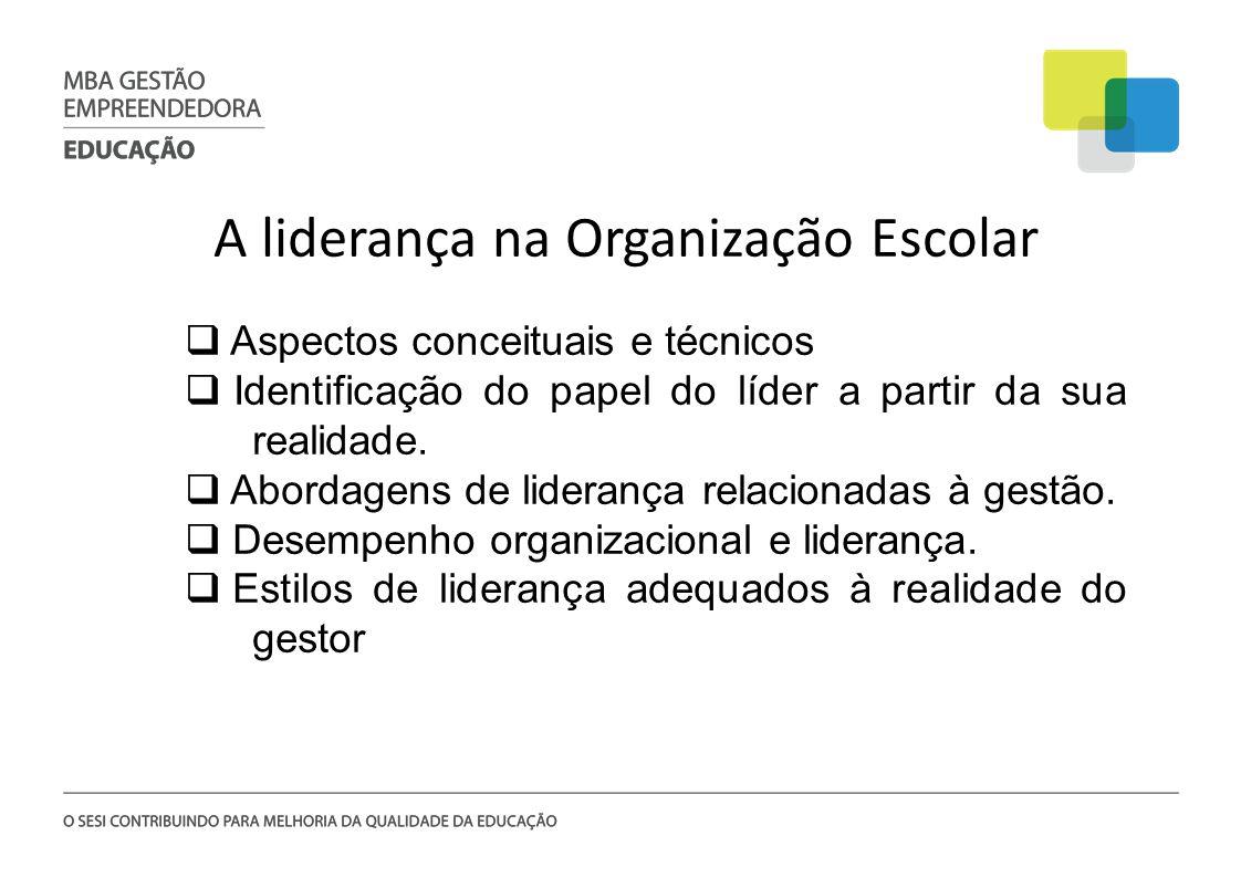 A liderança na Organização Escolar Aspectos conceituais e técnicos Identificação do papel do líder a partir da sua realidade. Abordagens de liderança