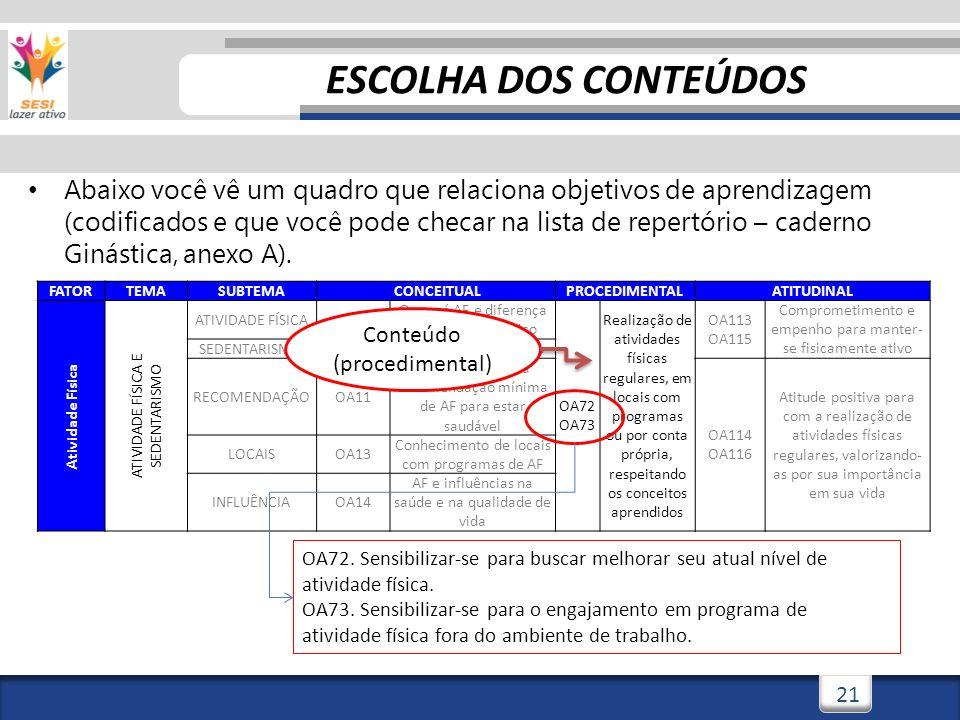 21 Abaixo você vê um quadro que relaciona objetivos de aprendizagem (codificados e que você pode checar na lista de repertório – caderno Ginástica, an