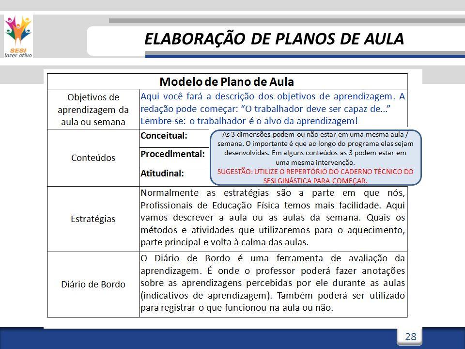 28 ELABORAÇÃO DE PLANOS DE AULA
