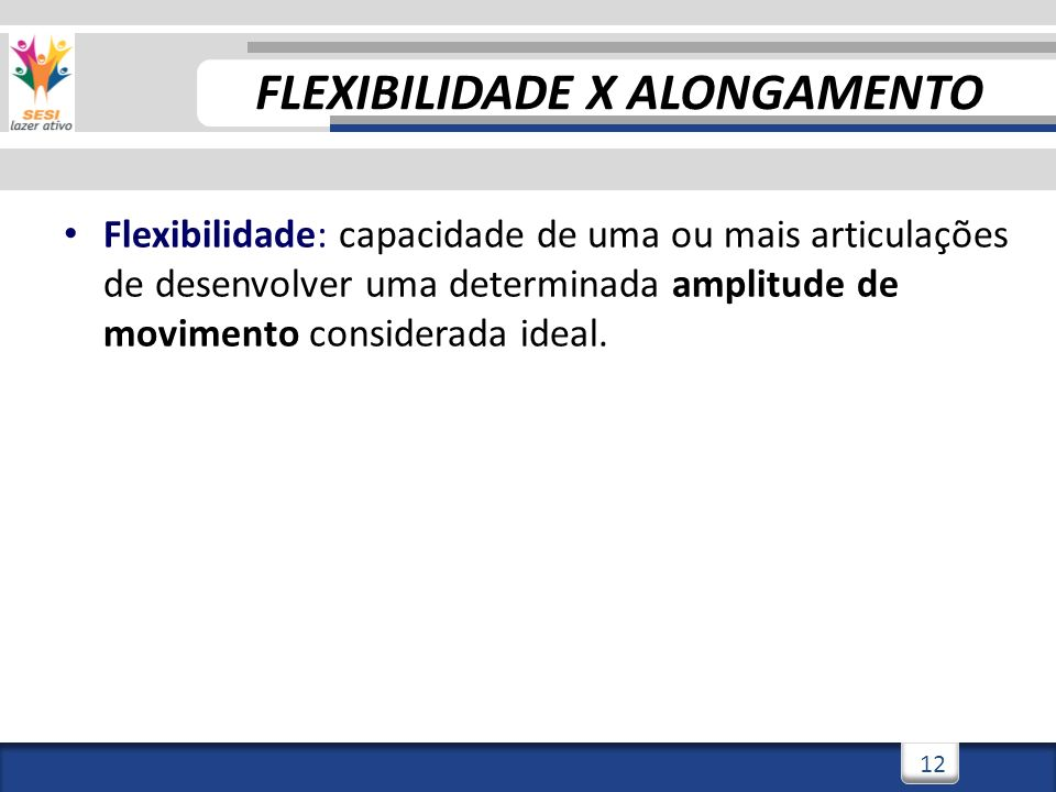 3/3/201412 Flexibilidade: capacidade de uma ou mais articulações de desenvolver uma determinada amplitude de movimento considerada ideal. FLEXIBILIDAD