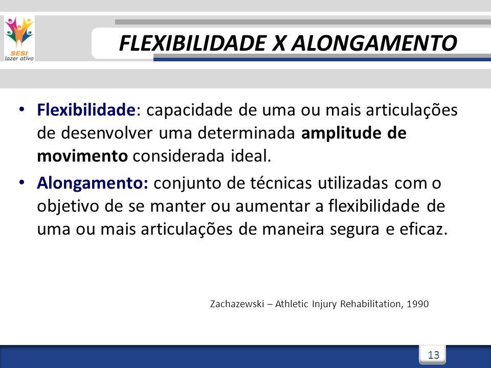 3/3/201413 Flexibilidade: capacidade de uma ou mais articulações de desenvolver uma determinada amplitude de movimento considerada ideal. Alongamento: