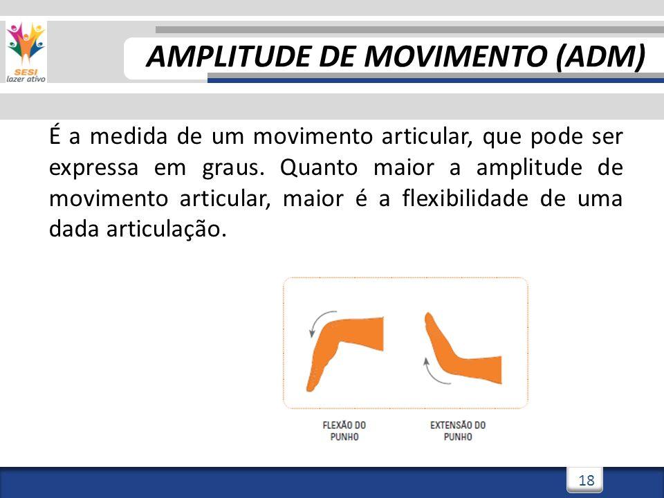 3/3/201418 É a medida de um movimento articular, que pode ser expressa em graus. Quanto maior a amplitude de movimento articular, maior é a flexibilid