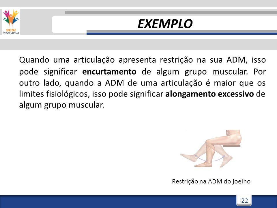 3/3/201422 Quando uma articulação apresenta restrição na sua ADM, isso pode significar encurtamento de algum grupo muscular. Por outro lado, quando a