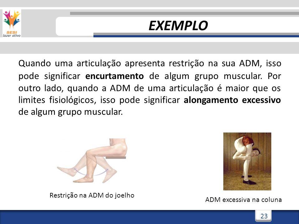 3/3/201423 Quando uma articulação apresenta restrição na sua ADM, isso pode significar encurtamento de algum grupo muscular. Por outro lado, quando a