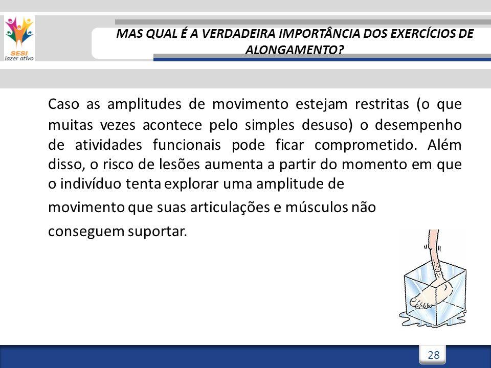 3/3/201428 Caso as amplitudes de movimento estejam restritas (o que muitas vezes acontece pelo simples desuso) o desempenho de atividades funcionais p