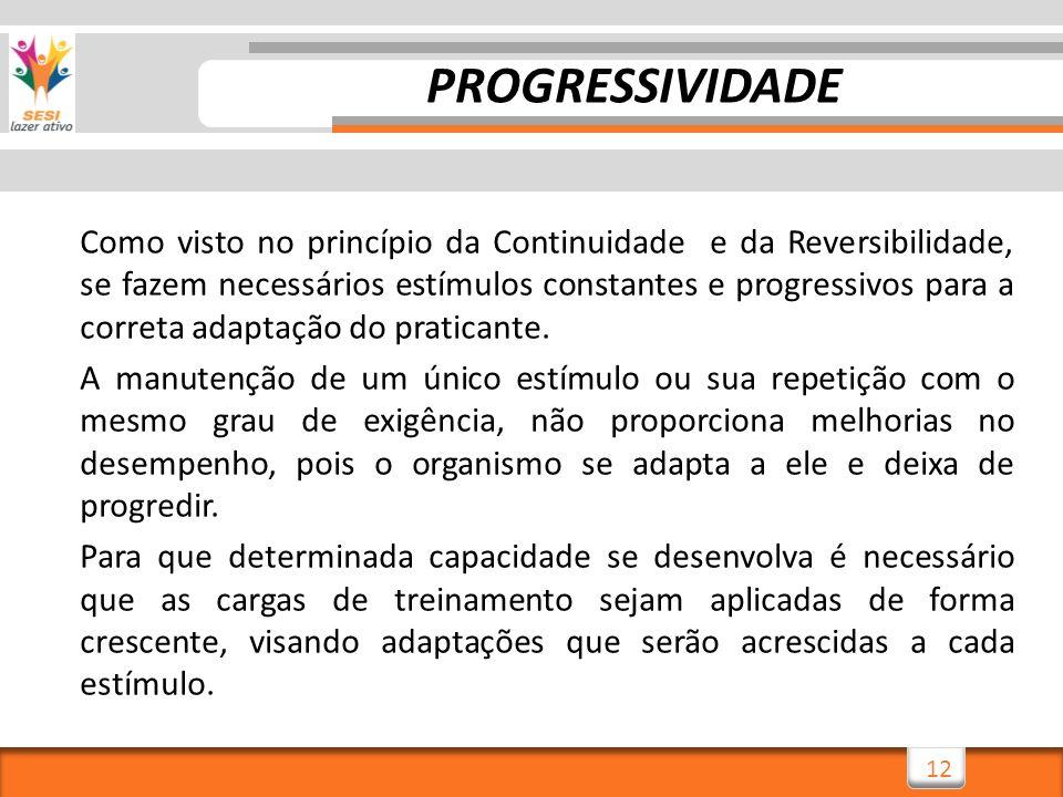 12 Como visto no princípio da Continuidade e da Reversibilidade, se fazem necessários estímulos constantes e progressivos para a correta adaptação do