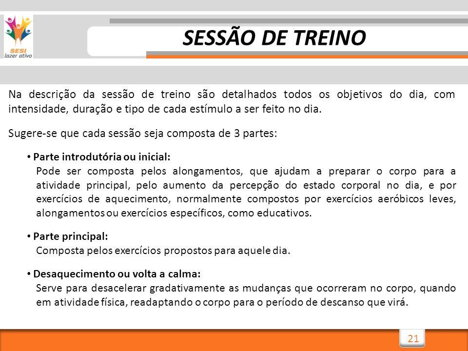 21 SESSÃO DE TREINO Na descrição da sessão de treino são detalhados todos os objetivos do dia, com intensidade, duração e tipo de cada estímulo a ser