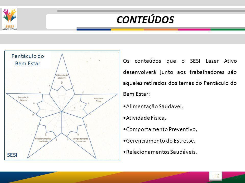 16 Os conteúdos que o SESI Lazer Ativo desenvolverá junto aos trabalhadores são aqueles retirados dos temas do Pentáculo do Bem Estar: Alimentação Sau