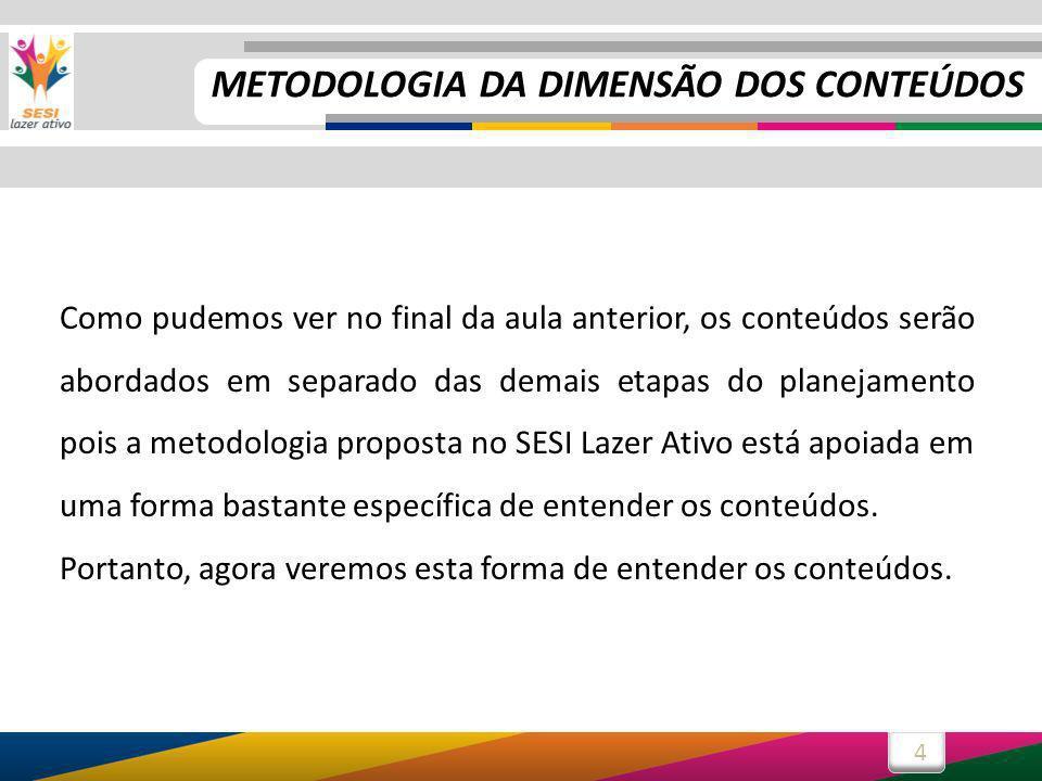 4 Como pudemos ver no final da aula anterior, os conteúdos serão abordados em separado das demais etapas do planejamento pois a metodologia proposta n