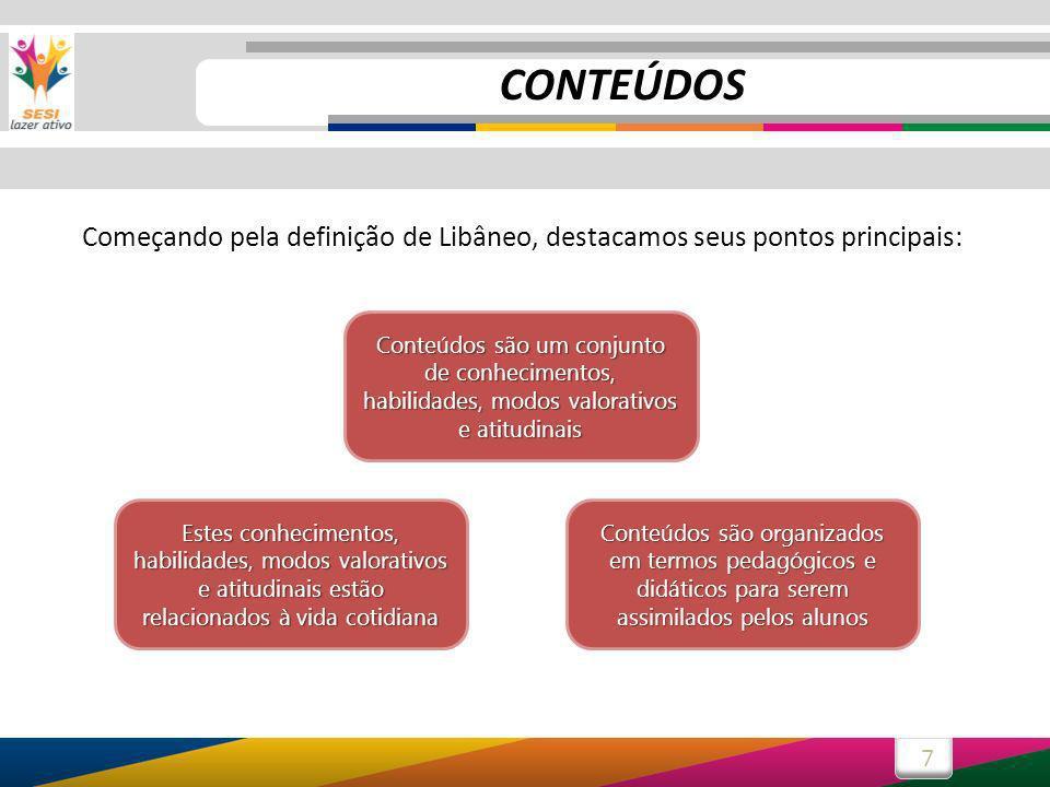 7 Começando pela definição de Libâneo, destacamos seus pontos principais: Conteúdos são um conjunto de conhecimentos, habilidades, modos valorativos e