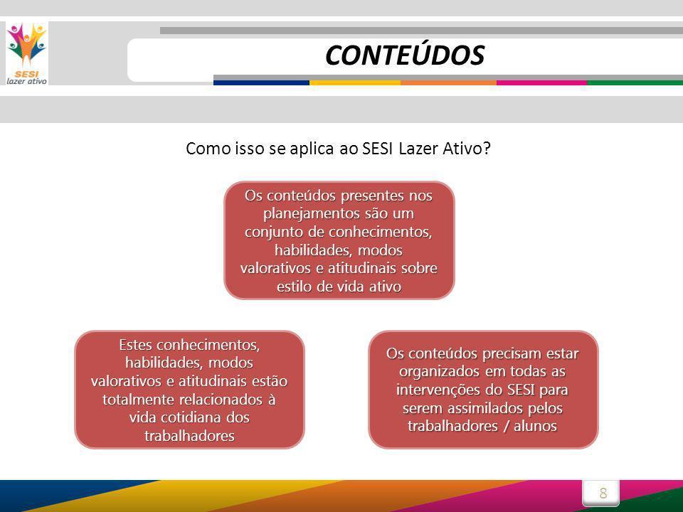 8 Como isso se aplica ao SESI Lazer Ativo? Os conteúdos presentes nos planejamentos são um conjunto de conhecimentos, habilidades, modos valorativos e