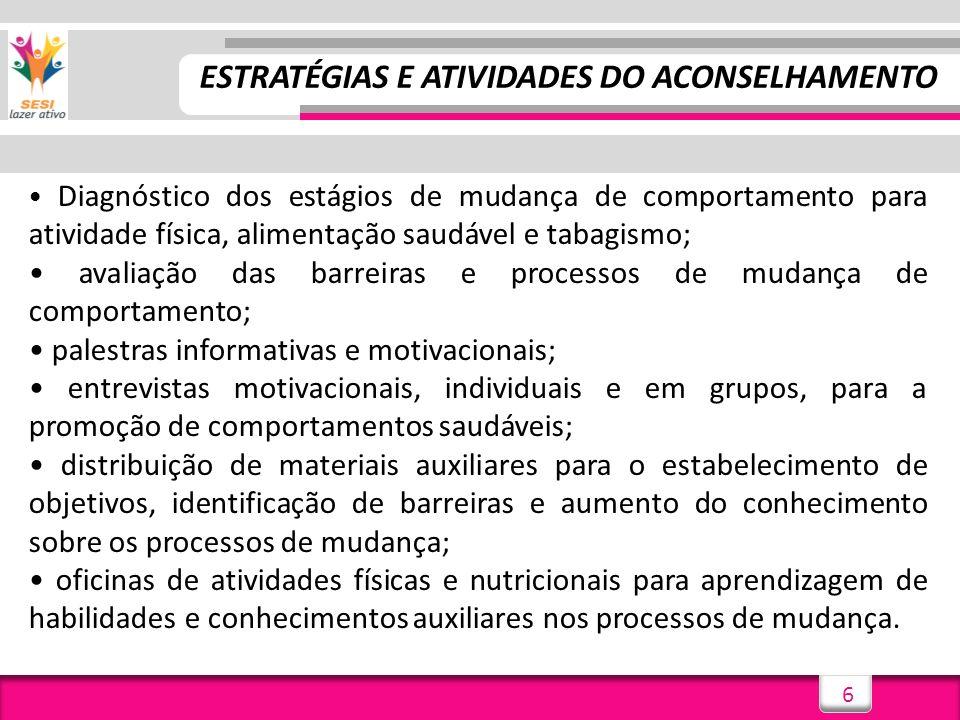 6 ESTRATÉGIAS E ATIVIDADES DO ACONSELHAMENTO Diagnóstico dos estágios de mudança de comportamento para atividade física, alimentação saudável e tabagi