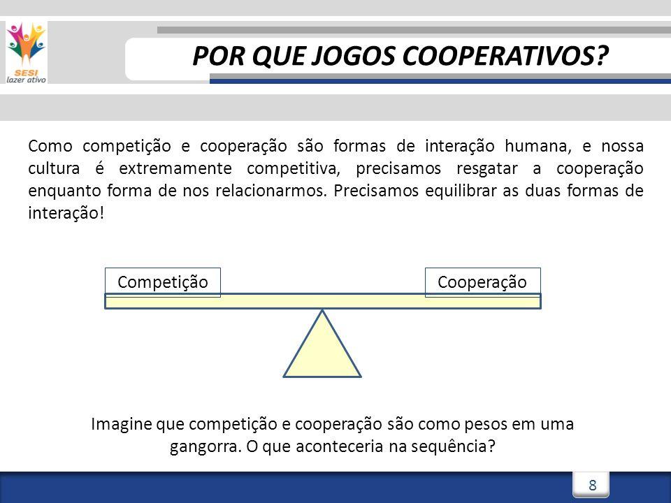 8 Como competição e cooperação são formas de interação humana, e nossa cultura é extremamente competitiva, precisamos resgatar a cooperação enquanto forma de nos relacionarmos.