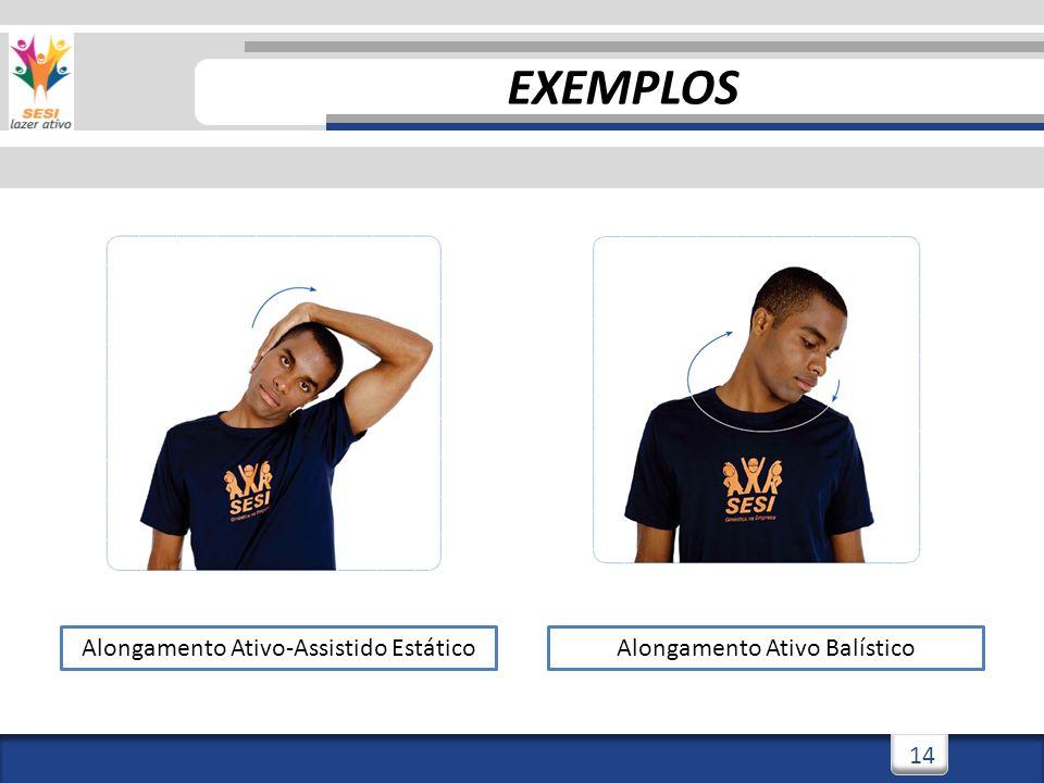 3/3/201414 Alongamento Ativo-Assistido EstáticoAlongamento Ativo Balístico EXEMPLOS