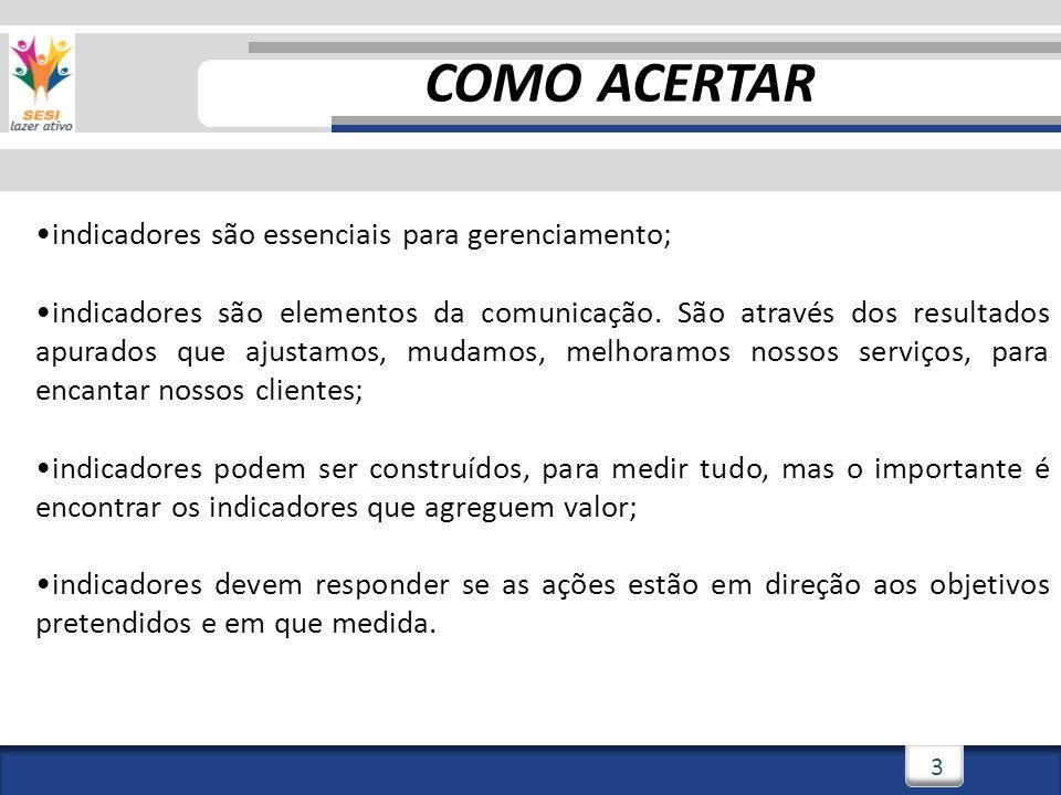 3/3/20143 3 COMO ACERTAR indicadores são essenciais para gerenciamento; indicadores são elementos da comunicação.