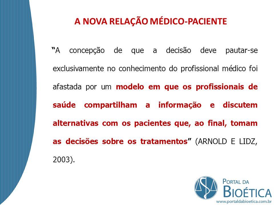 A clássica relação médico-paciente mudou mais nos últimos vinte e cinco anos do que nos vinte e cinco séculos anteriores.