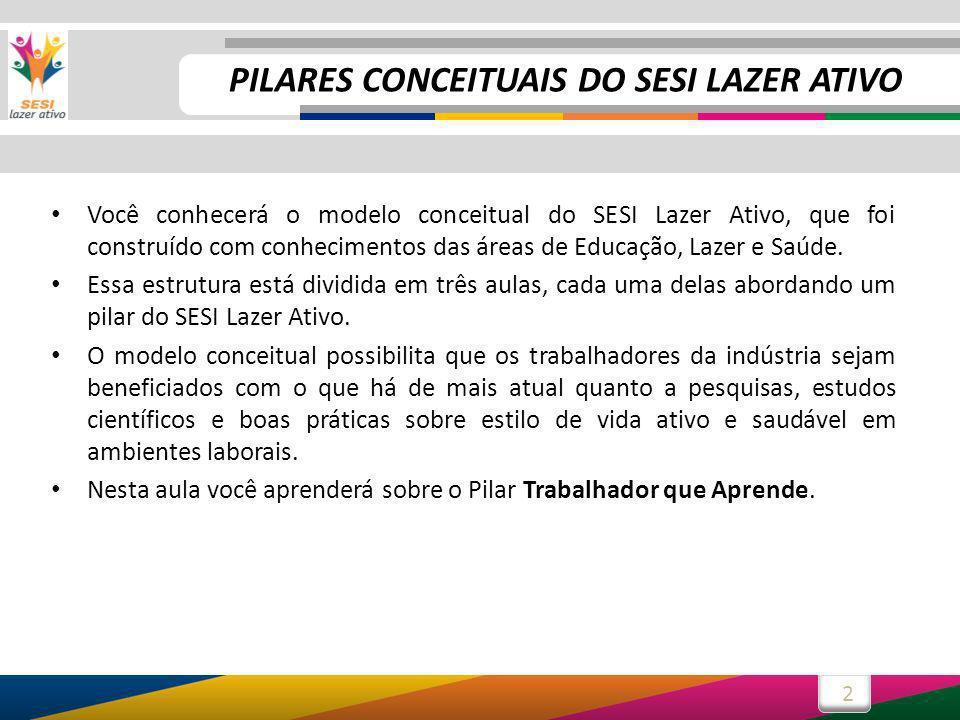 2 Você conhecerá o modelo conceitual do SESI Lazer Ativo, que foi construído com conhecimentos das áreas de Educação, Lazer e Saúde.