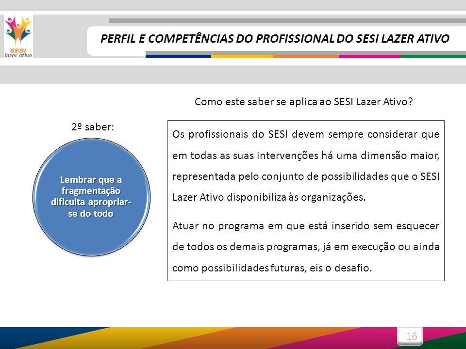 16 Os profissionais do SESI devem sempre considerar que em todas as suas intervenções há uma dimensão maior, representada pelo conjunto de possibilidades que o SESI Lazer Ativo disponibiliza às organizações.