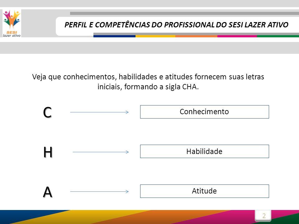 2 Veja que conhecimentos, habilidades e atitudes fornecem suas letras iniciais, formando a sigla CHA.CHA Conhecimento Habilidade Atitude PERFIL E COMP
