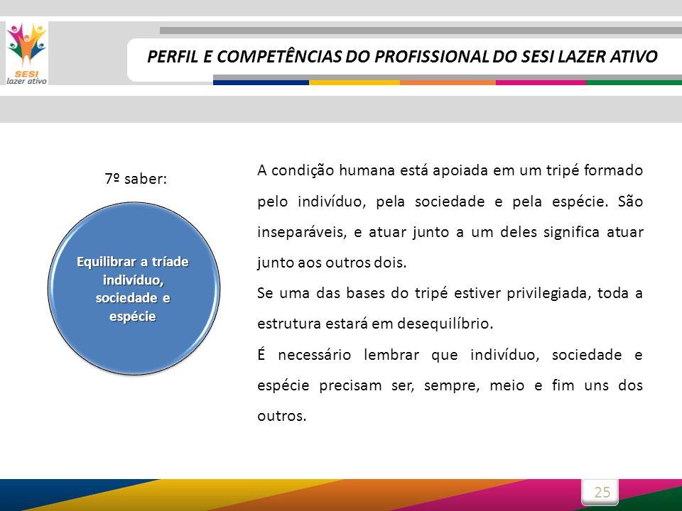 25 A condição humana está apoiada em um tripé formado pelo indivíduo, pela sociedade e pela espécie.
