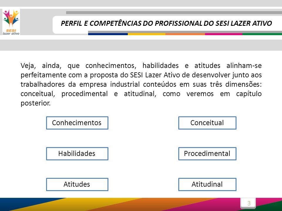 3 Veja, ainda, que conhecimentos, habilidades e atitudes alinham-se perfeitamente com a proposta do SESI Lazer Ativo de desenvolver junto aos trabalha