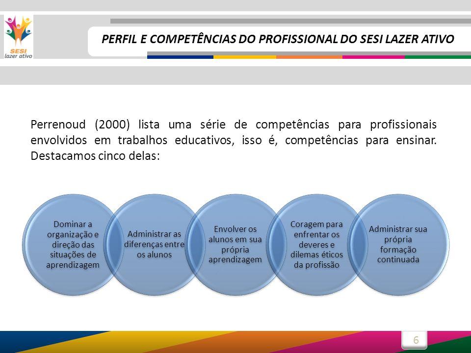 6 Perrenoud (2000) lista uma série de competências para profissionais envolvidos em trabalhos educativos, isso é, competências para ensinar. Destacamo