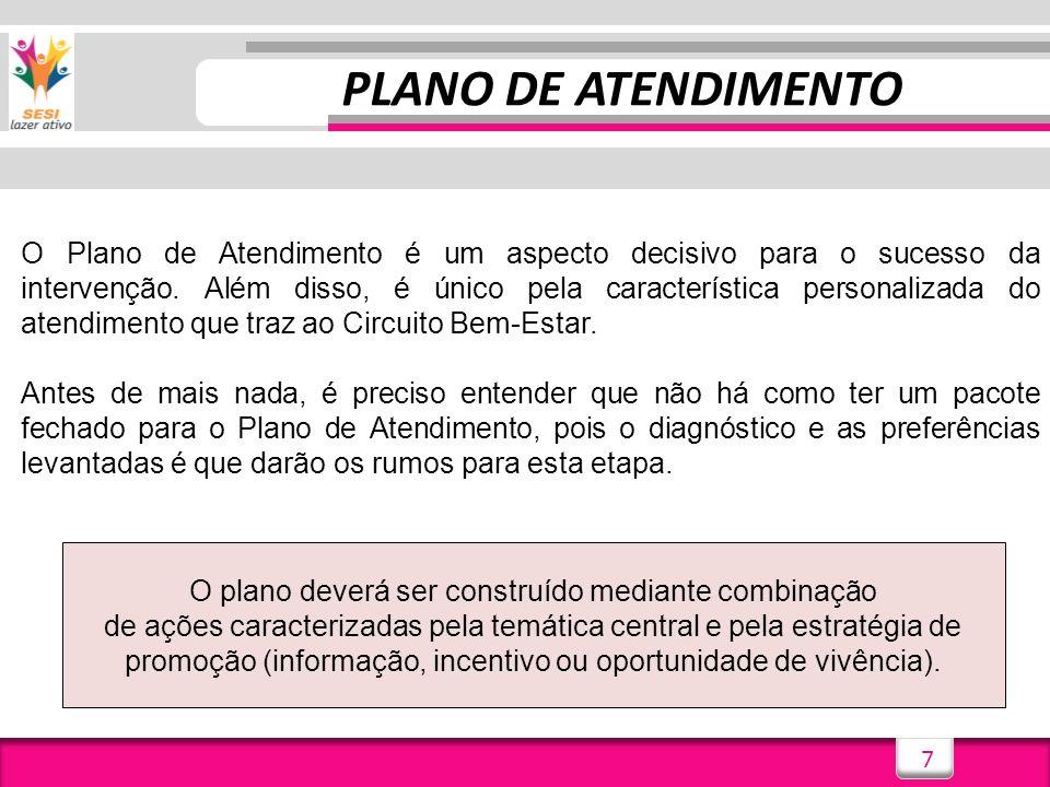 7 PLANO DE ATENDIMENTO O Plano de Atendimento é um aspecto decisivo para o sucesso da intervenção. Além disso, é único pela característica personaliza