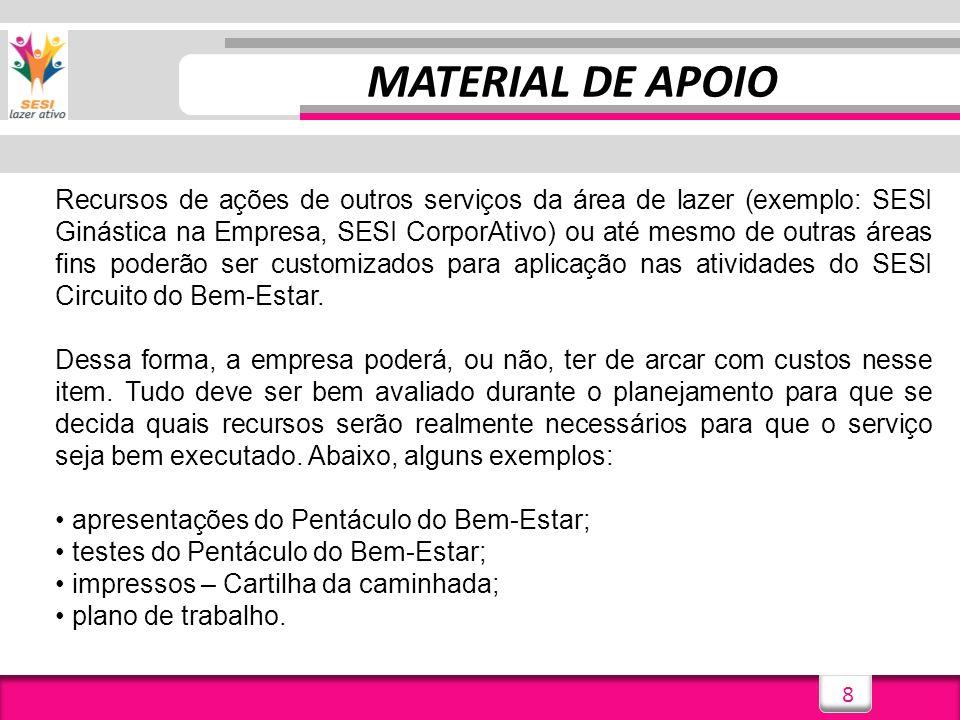 8 MATERIAL DE APOIO Recursos de ações de outros serviços da área de lazer (exemplo: SESI Ginástica na Empresa, SESI CorporAtivo) ou até mesmo de outra