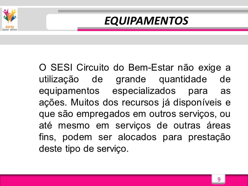 9 EQUIPAMENTOS O SESI Circuito do Bem-Estar não exige a utilização de grande quantidade de equipamentos especializados para as ações. Muitos dos recur