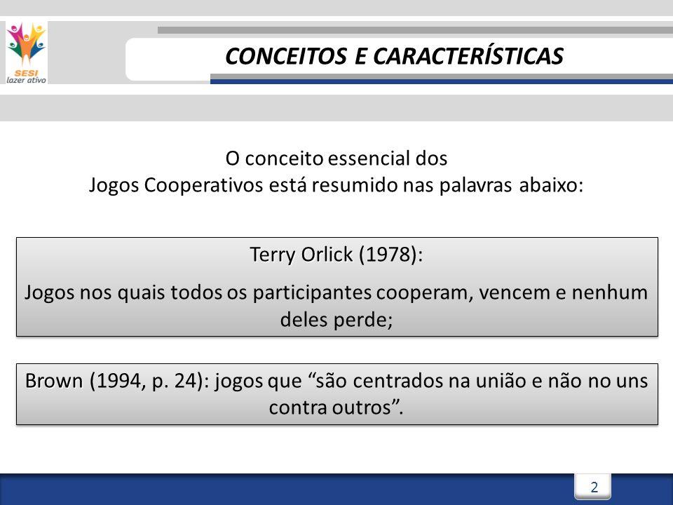 2 Terry Orlick Terry Orlick (1978): Jogos nos quais todos os participantes cooperam, vencem e nenhum deles perde; Terry Orlick Terry Orlick (1978): Jogos nos quais todos os participantes cooperam, vencem e nenhum deles perde; O conceito essencial dos Jogos Cooperativos está resumido nas palavras abaixo: Brown Brown (1994, p.
