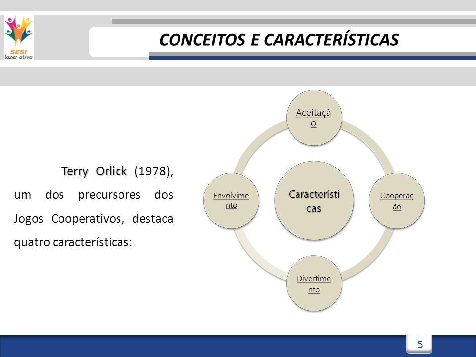 5 Terry Orlick Terry Orlick (1978), um dos precursores dos Jogos Cooperativos, destaca quatro características: Característi cas Aceitaçã o Cooperaç ão Divertime nto Envolvime nto CONCEITOS E CARACTERÍSTICAS