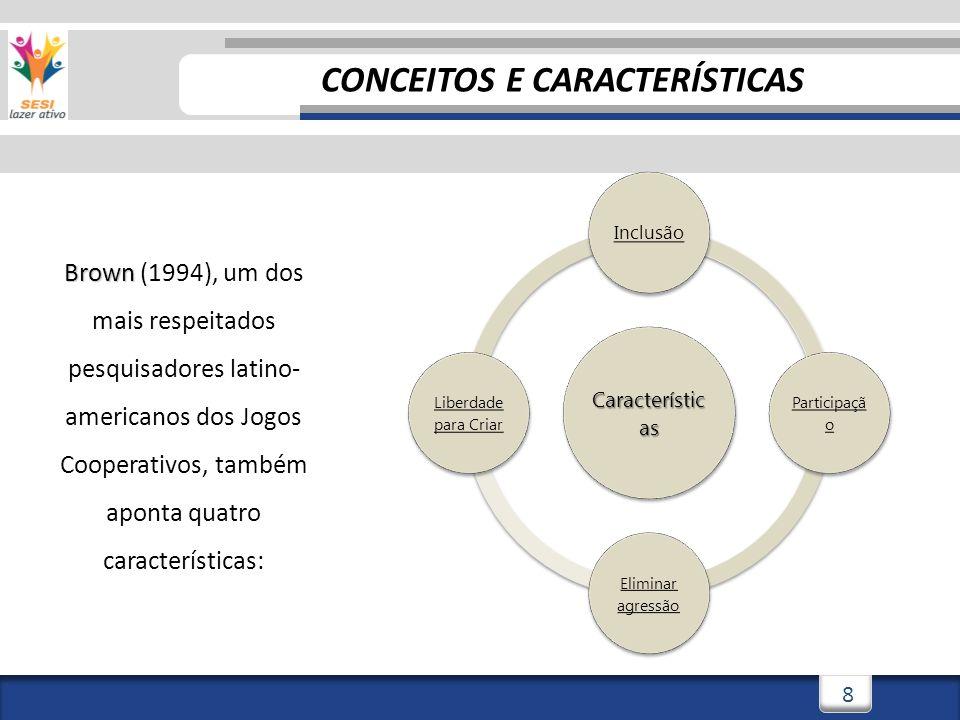 8 Brown Brown (1994), um dos mais respeitados pesquisadores latino- americanos dos Jogos Cooperativos, também aponta quatro características: Característic as Inclusão Participaçã o Eliminar agressão Liberdade para Criar CONCEITOS E CARACTERÍSTICAS