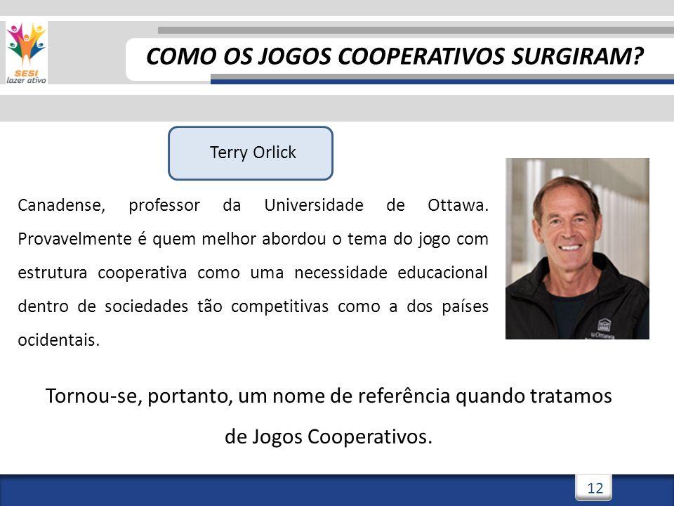 12 Terry Orlick Canadense, professor da Universidade de Ottawa. Provavelmente é quem melhor abordou o tema do jogo com estrutura cooperativa como uma