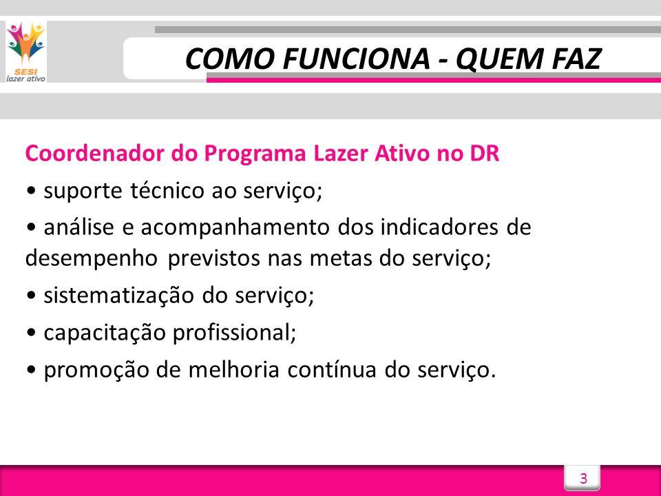 3 Coordenador do Programa Lazer Ativo no DR suporte técnico ao serviço; análise e acompanhamento dos indicadores de desempenho previstos nas metas do serviço; sistematização do serviço; capacitação profissional; promoção de melhoria contínua do serviço.