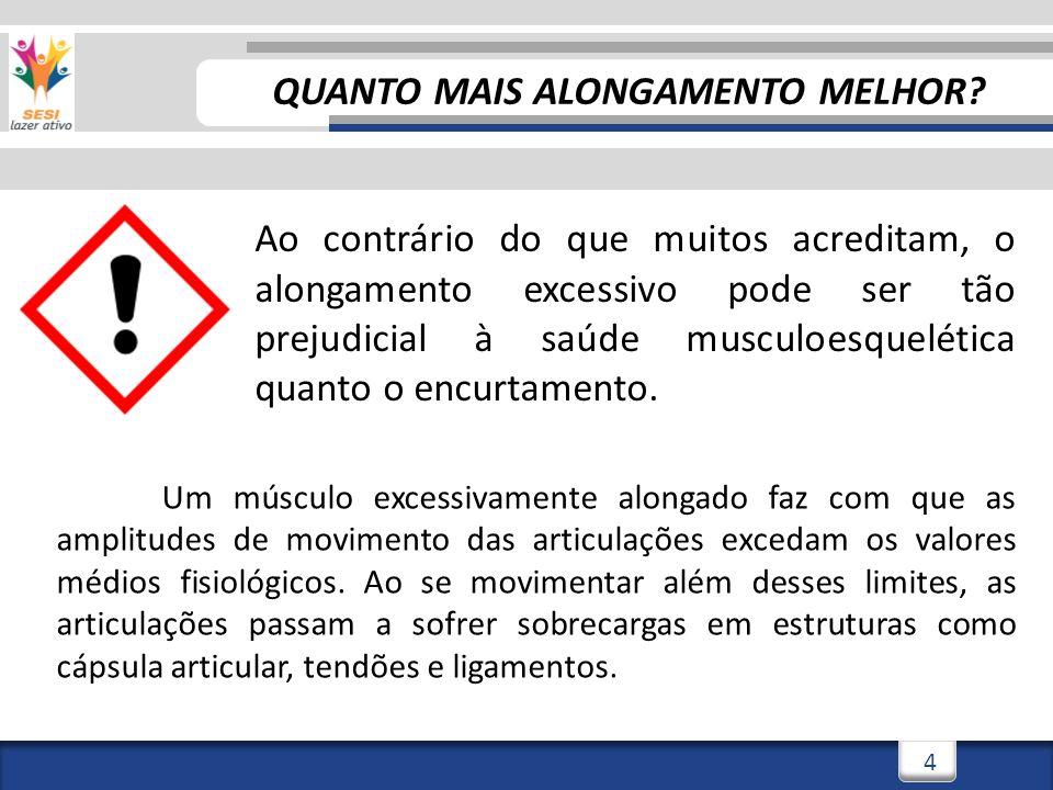 3/3/20144 4 Ao contrário do que muitos acreditam, o alongamento excessivo pode ser tão prejudicial à saúde musculoesquelética quanto o encurtamento.