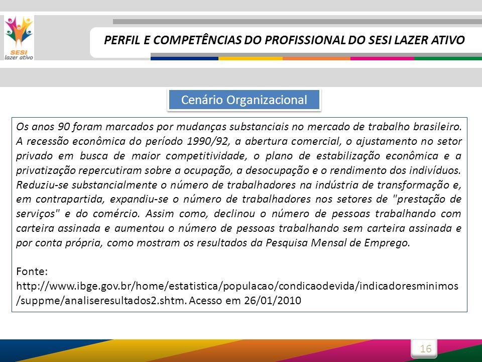 16 Os anos 90 foram marcados por mudanças substanciais no mercado de trabalho brasileiro. A recessão econômica do período 1990/92, a abertura comercia