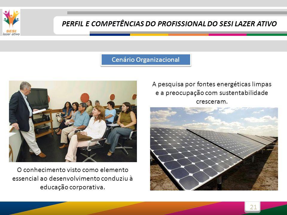 21 Cenário Organizacional A pesquisa por fontes energéticas limpas e a preocupação com sustentabilidade cresceram. O conhecimento visto como elemento
