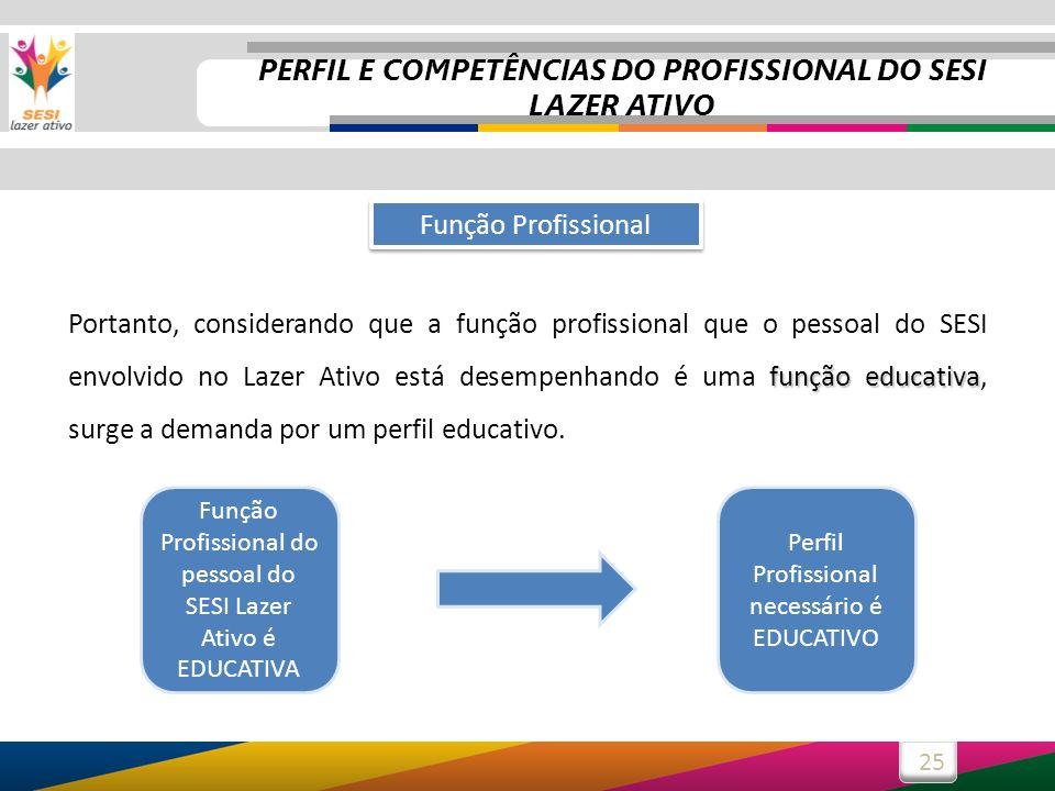 25 função educativa Portanto, considerando que a função profissional que o pessoal do SESI envolvido no Lazer Ativo está desempenhando é uma função ed